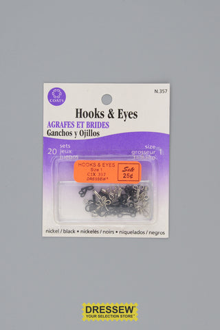 Hooks & Eyes Size 1 Black & Silver