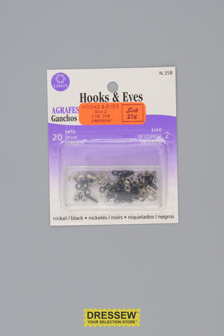 Hooks & Eyes Size 2 Black & Silver