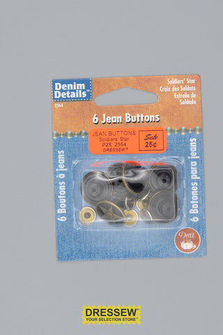 Jean Buttons Soldiers' Star Antique Gold
