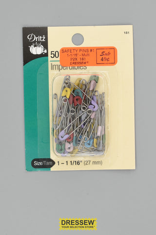 "Safety Pins #1 1-1/16"" Multi"
