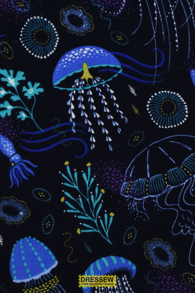 Michael Miller Jellyfish Flannel Navy / Multi