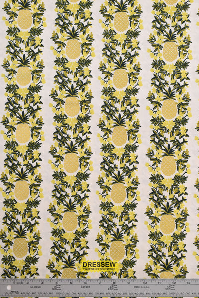 Rifle Paper Co. Primavera Pineapple Stripe for Cotton + Steel Cream Metallic