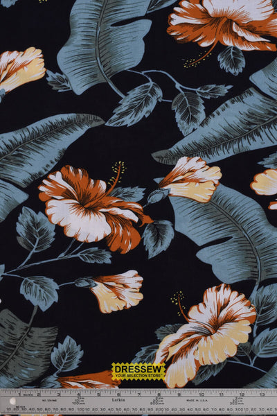 Tropical Challis Rayon Black / Orange