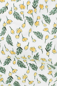 Organic Cotton Lycra Print White / Yellow