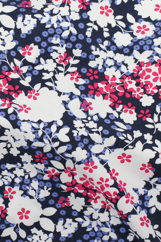 Softique Floral Lycra Navy / White / Pink