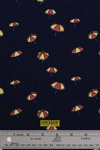 Umbrella Challis Rayon Navy / Pink / Yellow