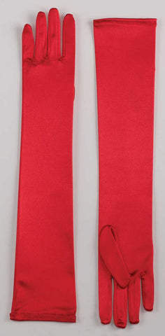 "Stretch Satin Gloves 19"" Red"