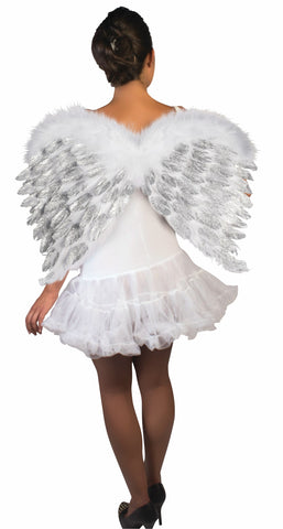 Angel Feather Wings with Glitter White