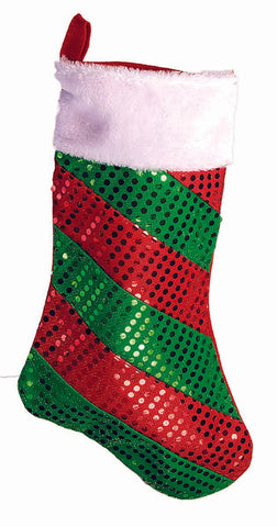 Striped Foil Dot Stocking Red / Green