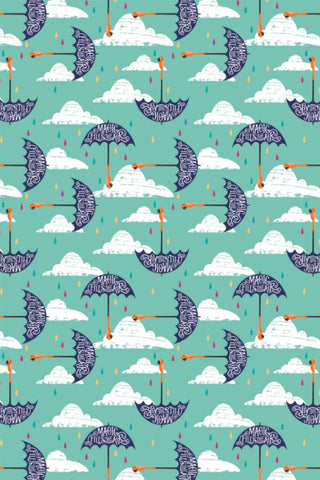 Disney Mary Poppins Umbrellas Aqua / Multi