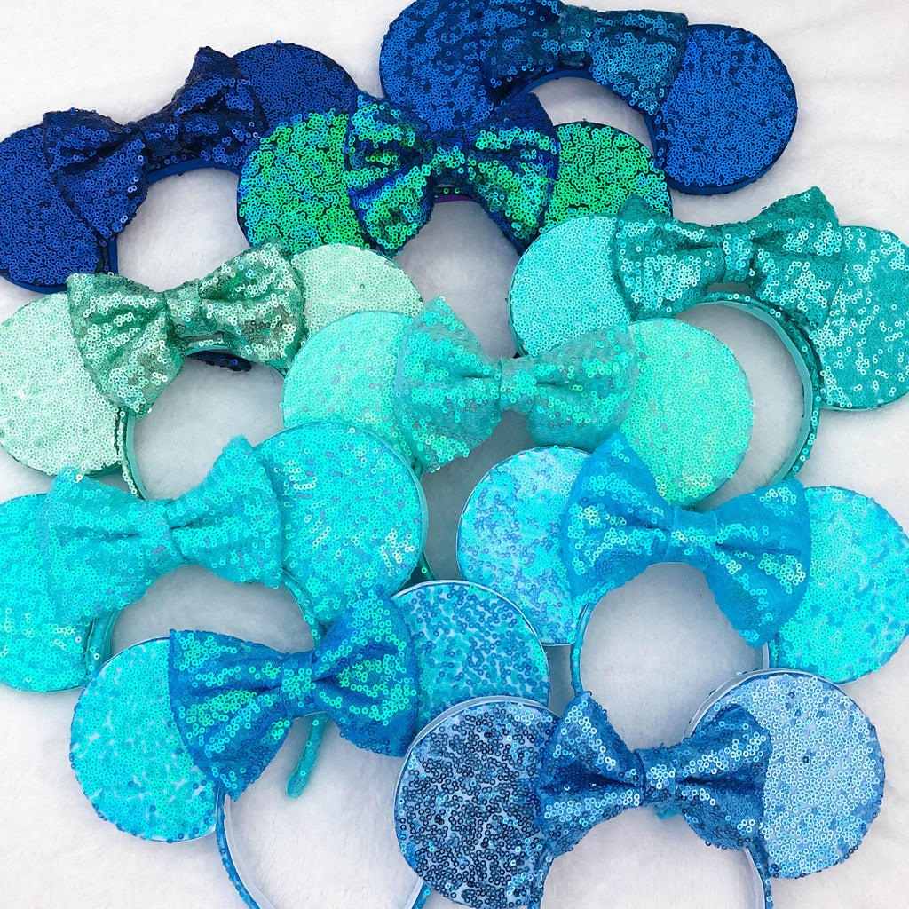 Disney Blue Sequin Ears, Aqua Sequin Ears and Mint Sequin- The perfect sequin mouse ears for your bachelorette party- Beautiful blue ears