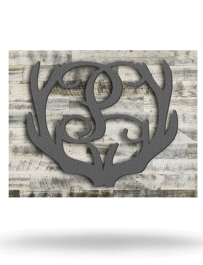 Wood Backed Antler Letter Monogram