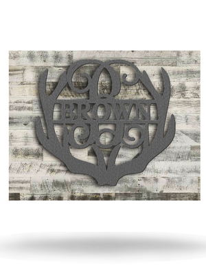 Wood Backed Antler Name Monogram