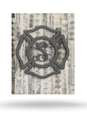 Wood Backed Firefighter Monogram