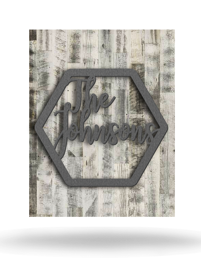 Wood Backed Family Name Sign Monogram