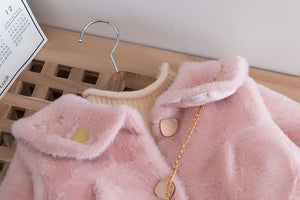 Girls teddy bear coat and handbag