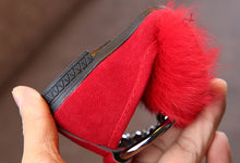 Load image into Gallery viewer, red faux fur pump