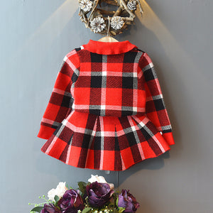Soft knit collared red and black check set.