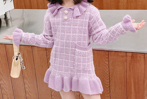 Fabulous thick lilac pearl button jumper dress.