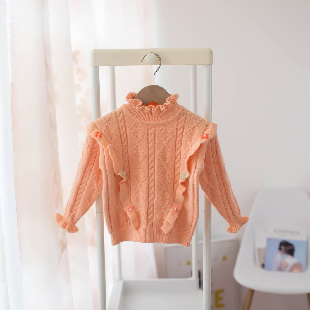 Stunning high neck detailed coral  jumper.