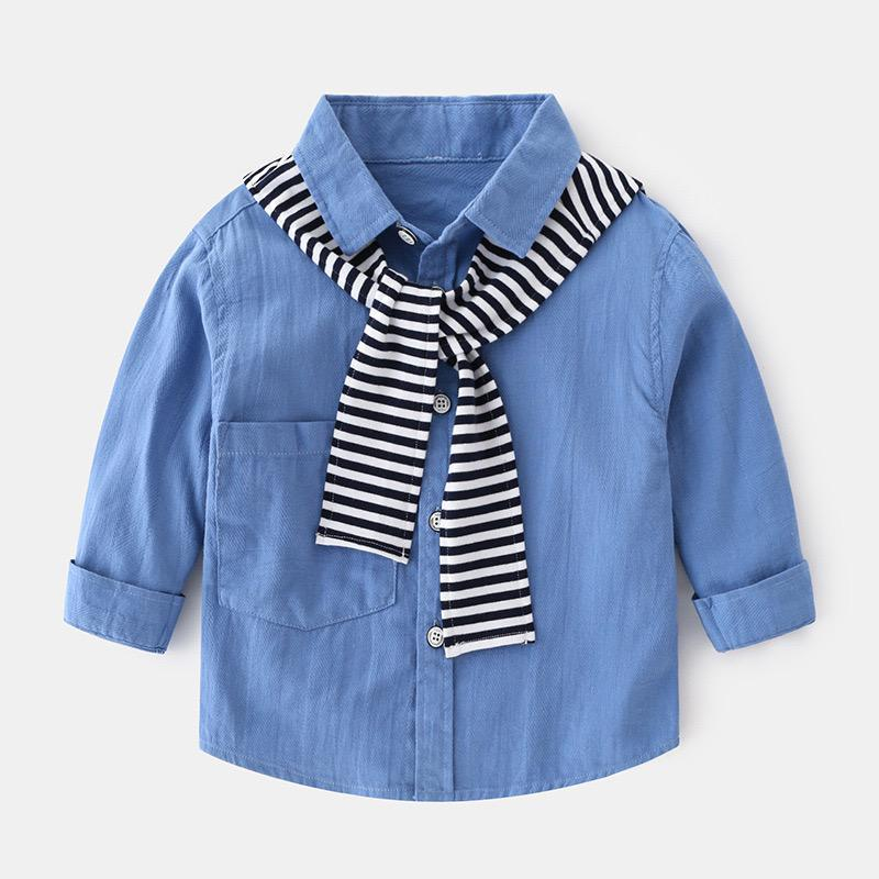 Blue boys shirt with detailed scarf