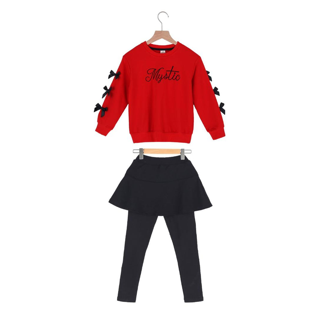 2 piece set Red jumper and leggings with attached skirt.