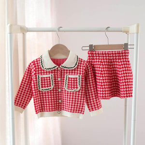 Younger girls skirt and cardigan set
