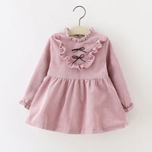 Load image into Gallery viewer, Long sleeved pink victorian style cord dress