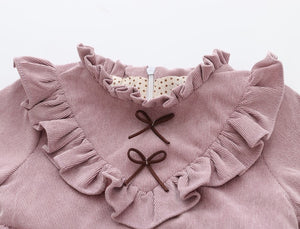 Long sleeved pink victorian style cord dress