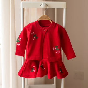 Girls knitwear dress and cardigan sets