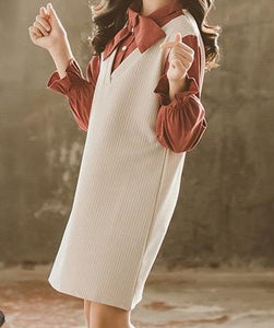 Tunic dress with beautiful detailed rust shirt.