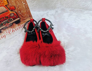 Fluffy red loafers