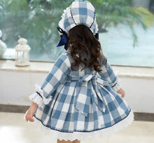 Cargar imagen en el visor de la galería, Blue and white long sleeved spanish style dress