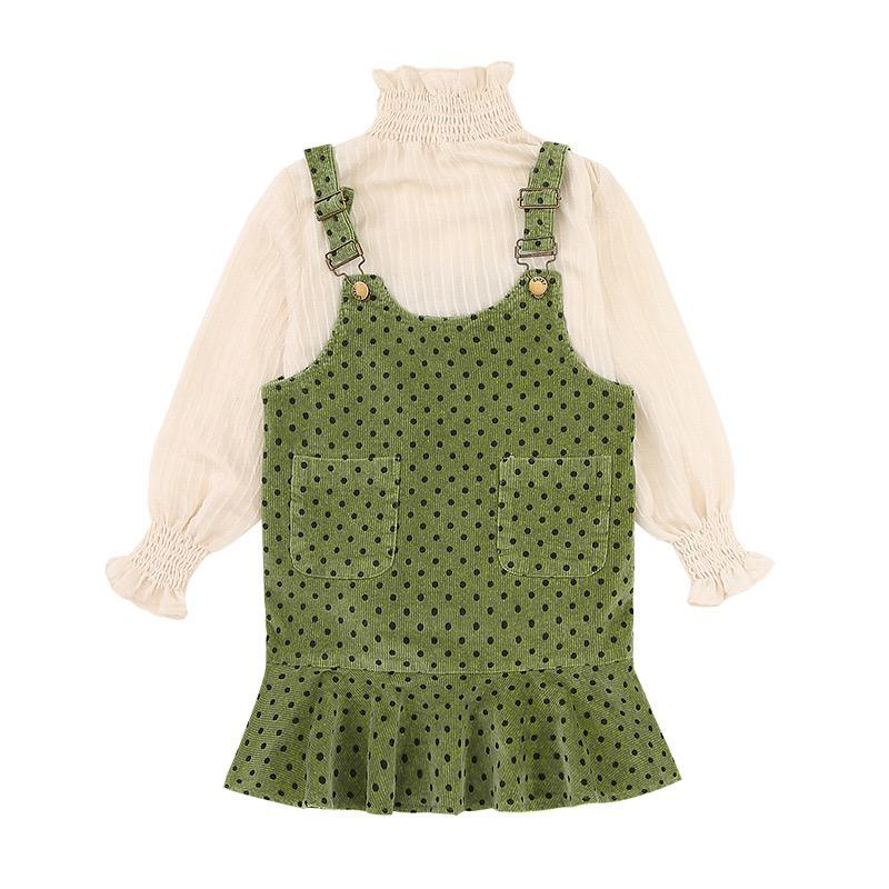 Older girl cord poka dot and dress set.