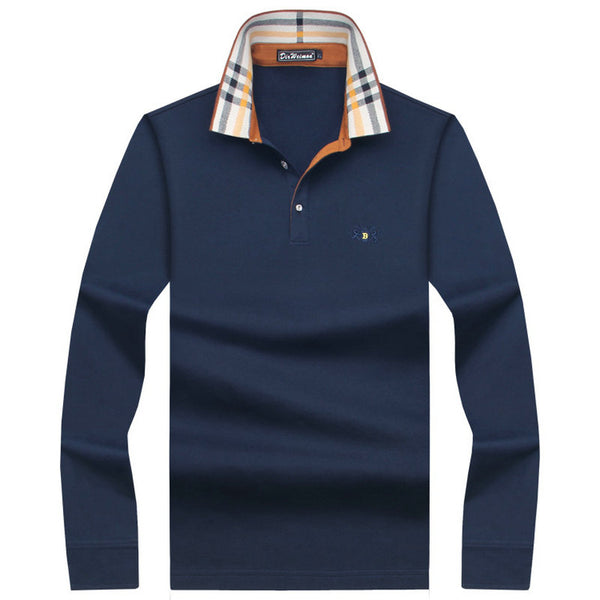 2018 Hot Sale Men's British Fashion Men's Thicker Casual Slim Long Sleeved Men Polo Shirt Turn-down Collar Mens Polo Shirts