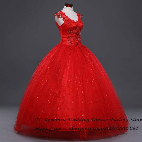 Free Shipping Vestidos De Novia Red White Crystal V-neck Wedding Gowns Plus  size Princess Lace Cheap Bride Frocks Dresses HS159