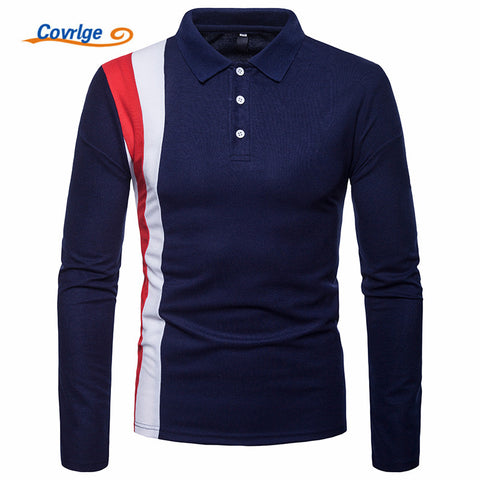 Covrlge 2018 High Quality Tops&Tees Men's Polo Shirts Business Fashion Autumn Slim Fit Style Long Sleeve Polo Shirt Men MTP102