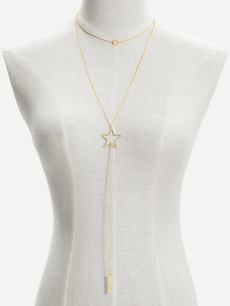 Bar & Star Pendant Chain Necklace