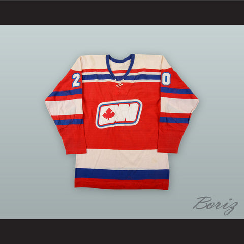 1972-73 WHA Brian Conacher 20 Ottawa Nationals Red Hockey Jersey