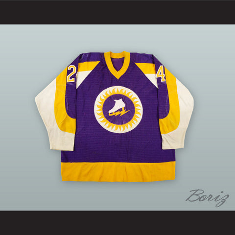 1973-74 WHA Bill Speer 24 New York Golden Blades Purple Hockey Jersey