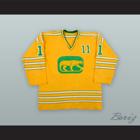 1973-74 WHA Brian Coates 11 Chicago Cougars Yellow Hockey Jersey