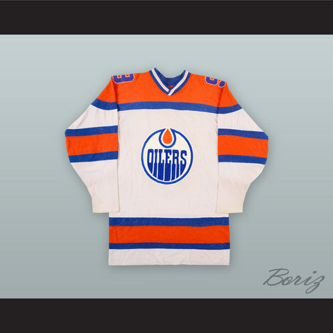 1973-74 WHA Ross Perkins 9 Edmonton Oilers White Hockey Jersey