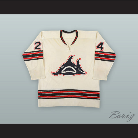 1973-74 WHA Tom Serviss 24 Los Angeles Sharks White Hockey Jersey