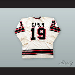 1974-75 WHA Alain Caron 19 Michigan Stags White Hockey Jersey