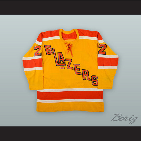 1974-75 WHA Claude St. Sauveur 22 Vancouver Blazers Yellow Hockey Jersey