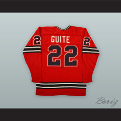 1974-75 WHA Pierre Guite 22 Michigan Stags Red Hockey Jersey
