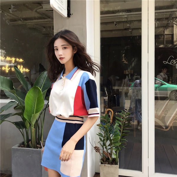 2018 Summer Women Fashion Skirt Sets Polo Shirt A Line Mini Skirt Suits Two Piece Retro Patchwork Knitted Tracksuits Skirt Sets