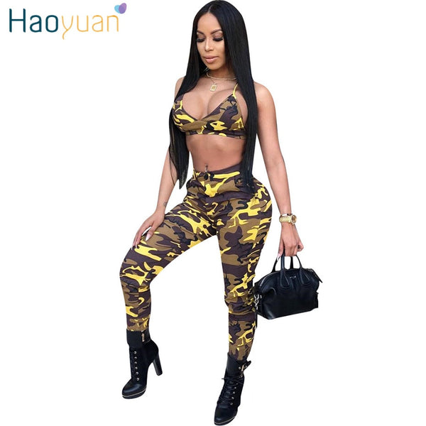 98a8872fa7 HAOYUAN Camo Sexy Two Piece Set Streetwear Summer Outfits Crop Top and