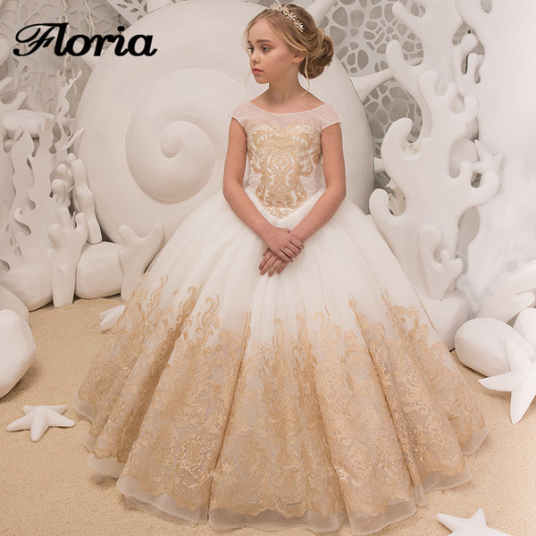 9cc0cbcec0 Champagne Lace Flower Girl Dresses For Weddings 2018 New First Communi