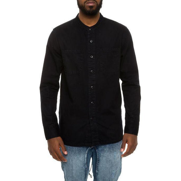 High-Low Fishtail Monk Collar Button Down in Black Denim